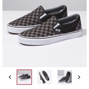 Vans checkered board shoes, classic slip ons.